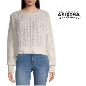 Arizona Jean Co Girl Off White Knit Sweater L10-12